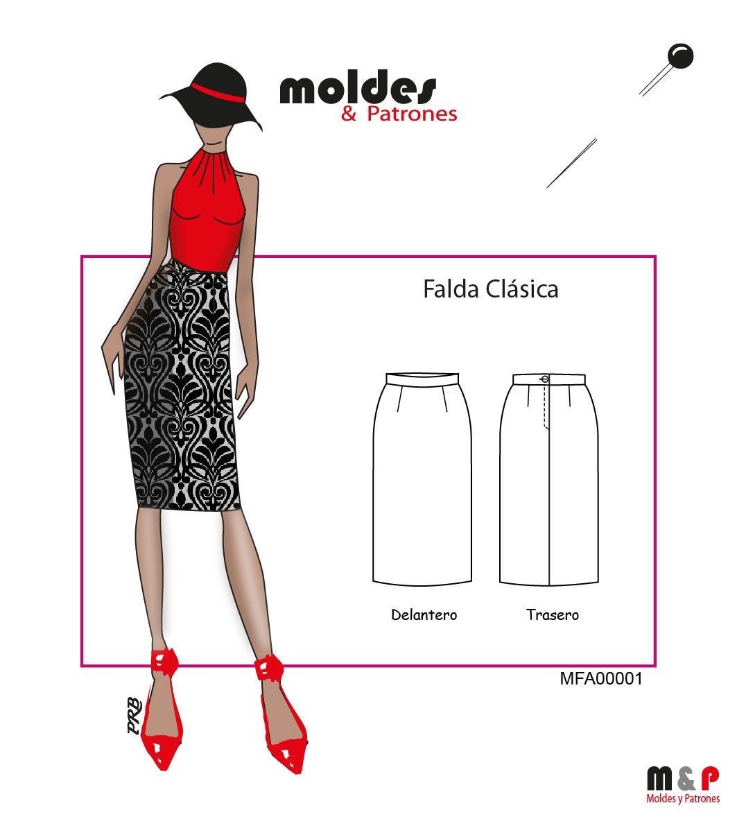 3 TALLAS S M L - Falda clásica recta