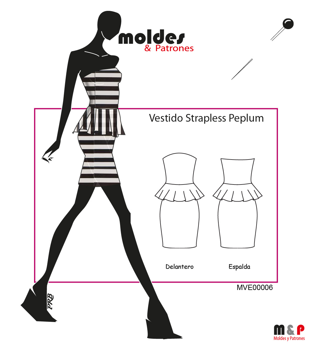 3 TALLAS S M L - Vestido Strapless Peplum