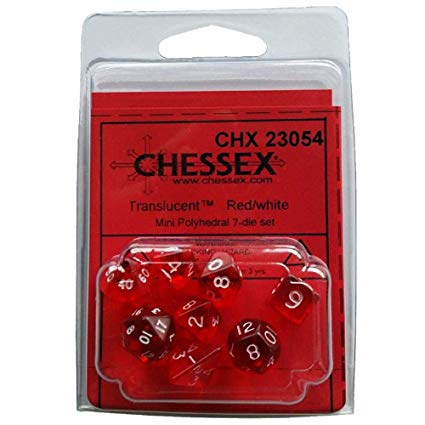Set 7 dados Chessex Mini Traslúcidos Rojo / blanco
