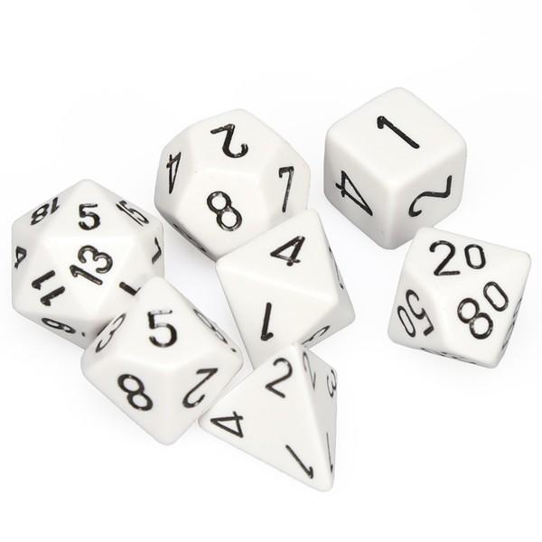 Set 7 dados Chessex Opaco Blanco/Negro