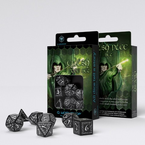 Set 7 dados Q Workshop Elvish Negro / Blanco
