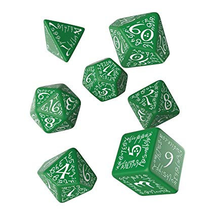 Set 7 Dados Q Workshop Elvish Verde / Blanco