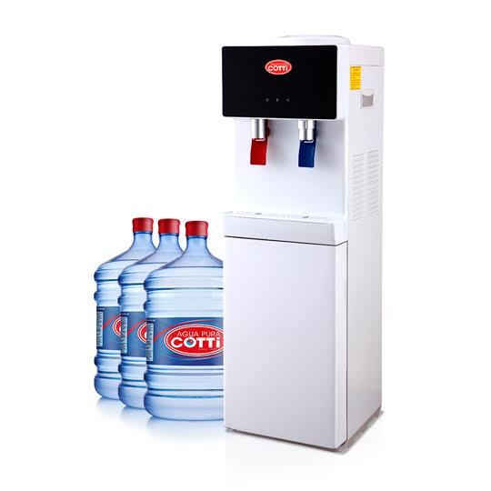 Plan Arriendo Dispensador pedestal con 3 botellones iniciales y reposición de 2 botellones mensuales.