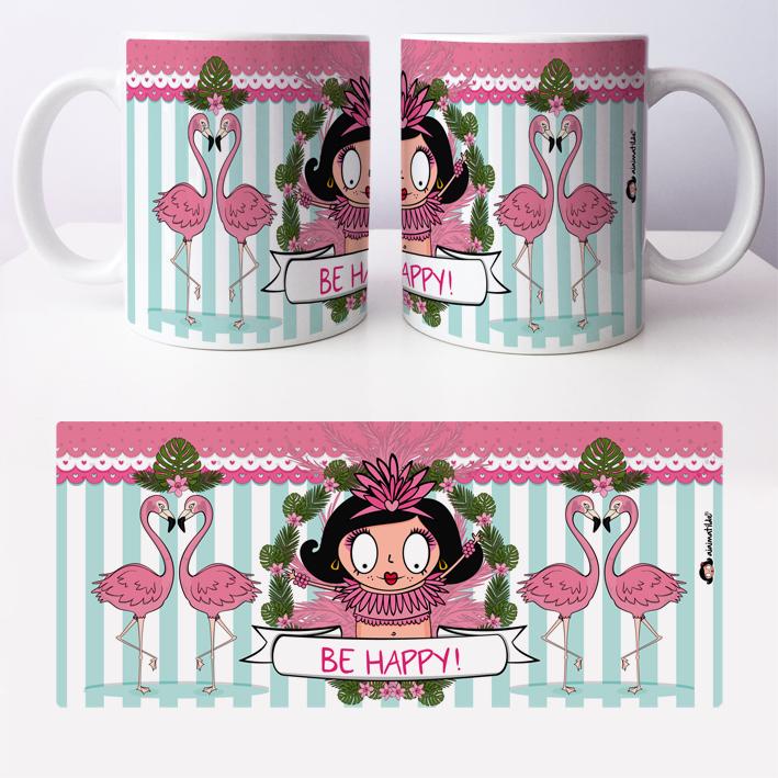 caneca flamingos