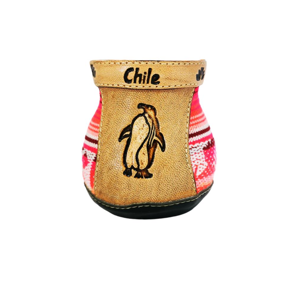 Mate de cerámica & aguayo - Diseño pingüino