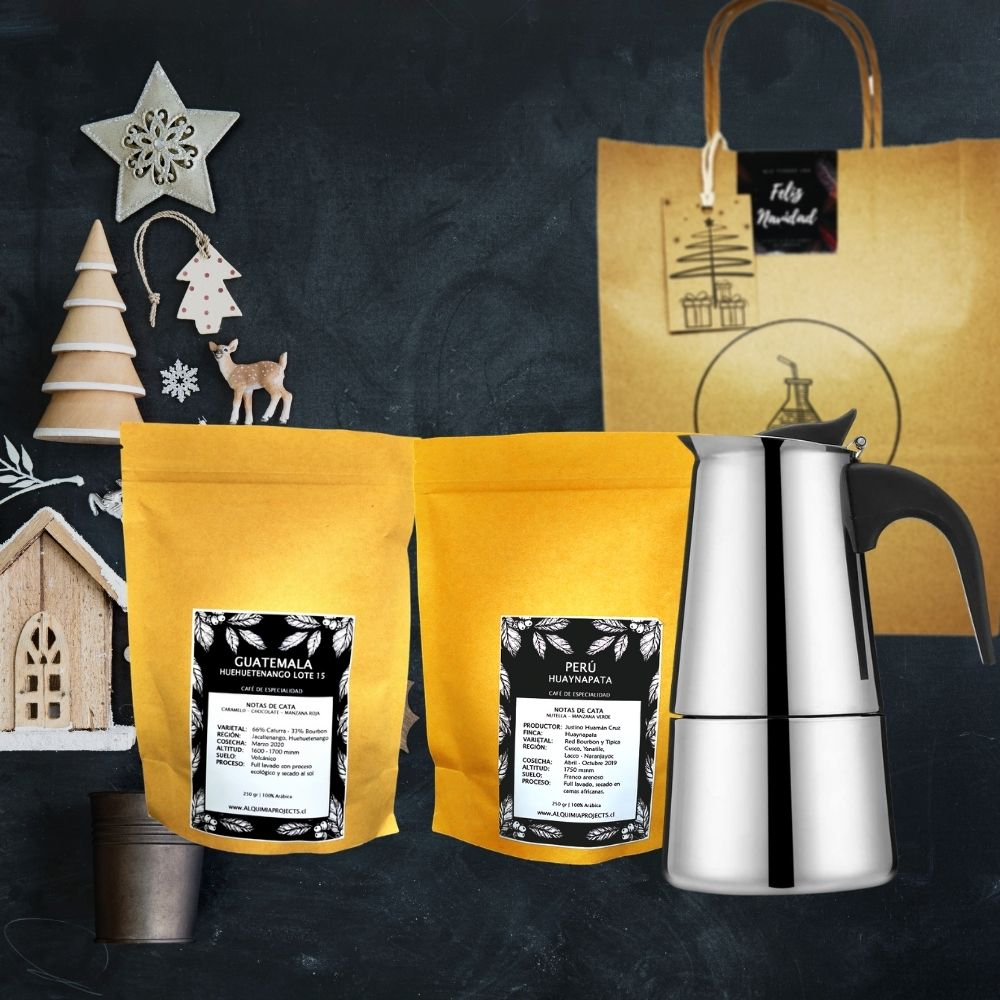 2 variedades de café de especialidad + Cafetera Moka