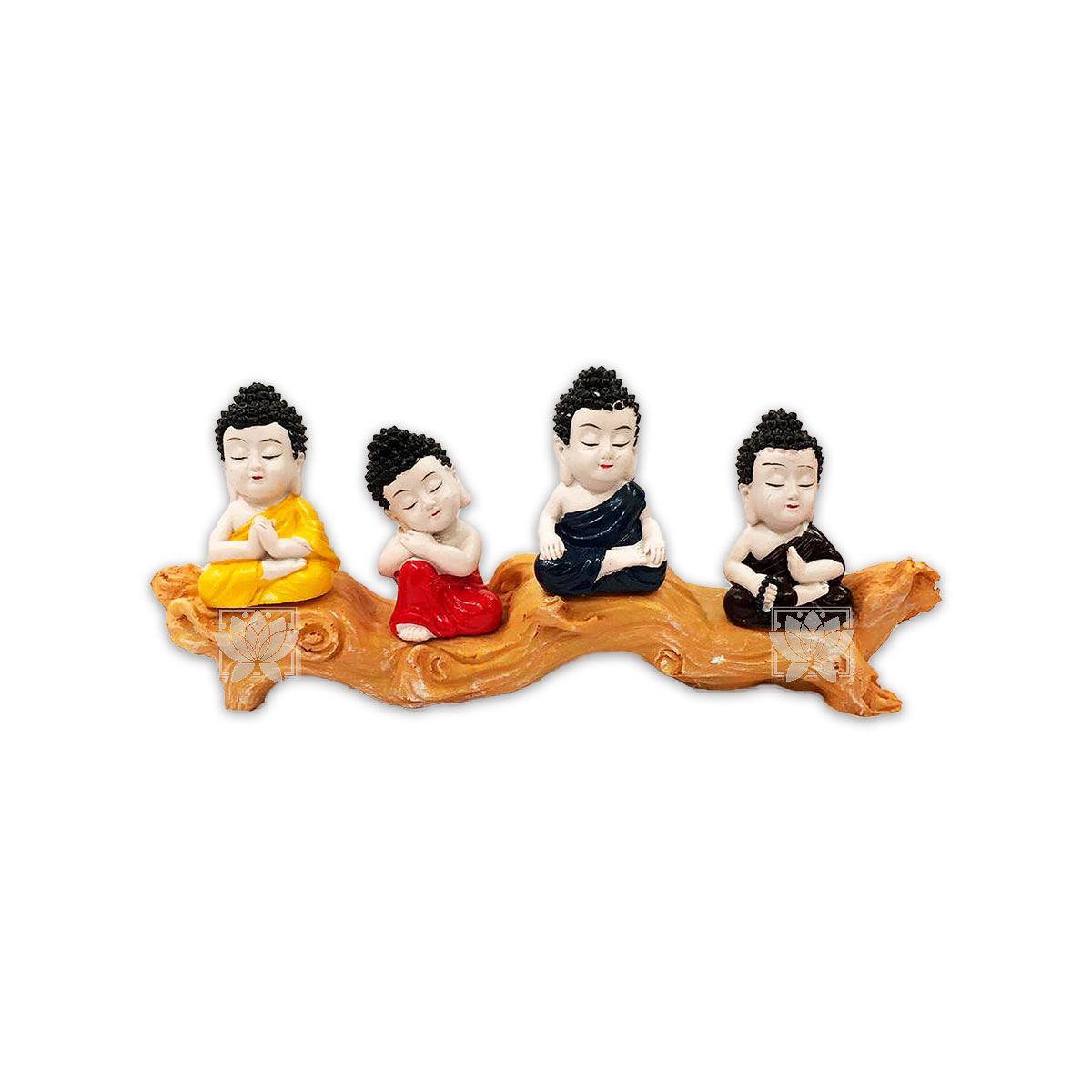 Set Figura Budha  Poliresina Pedestal   4