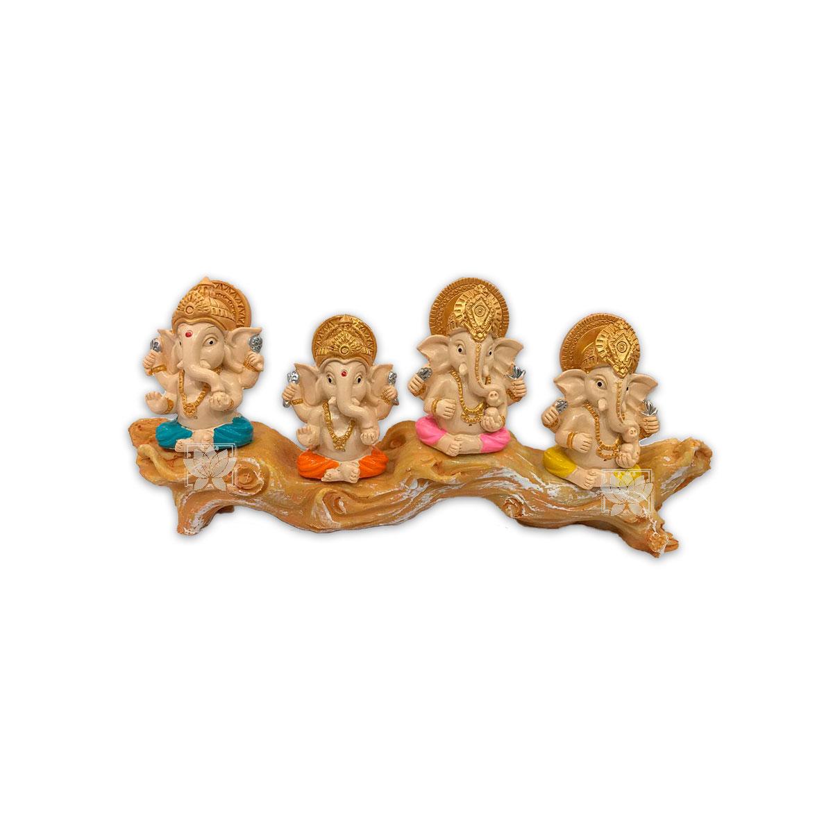 Set Figura Ganesh Poliresina Pedestal   4