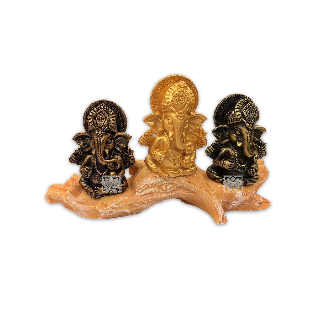 Set Figura Ganesh  Poliresina Pedestal   3,9