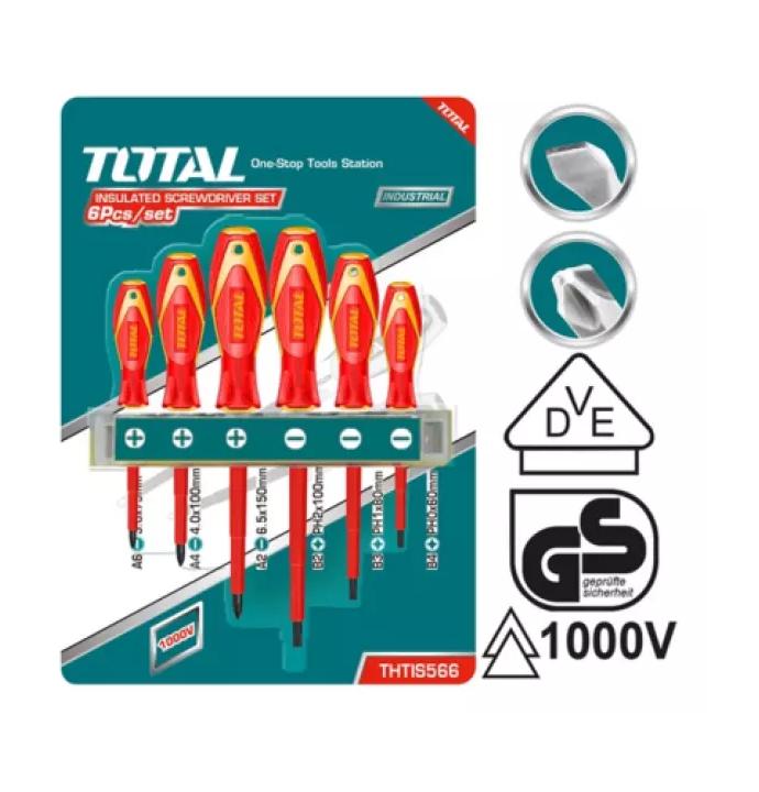 Kit Destornillador 6pc aislado eléctrico TOTAL