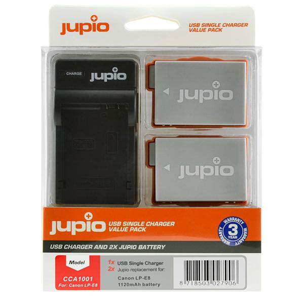 Batería Reemplazo Jupio Canon LP-E8 Kit 2x con Cargador USB
