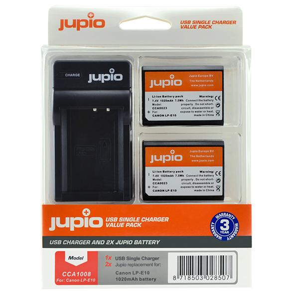 Batería Reemplazo Jupio Canon LP-E10 Kit 2x con Cargador USB