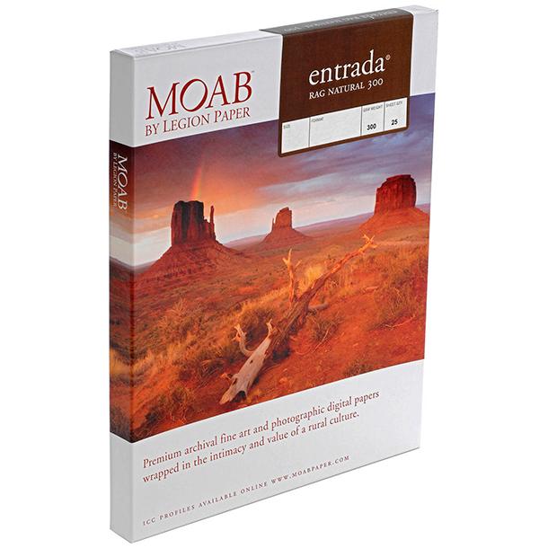 Papel Fine Art Moab Entrada Rag Natural 300 Carta (8.5 x 11) 25 Hojas
