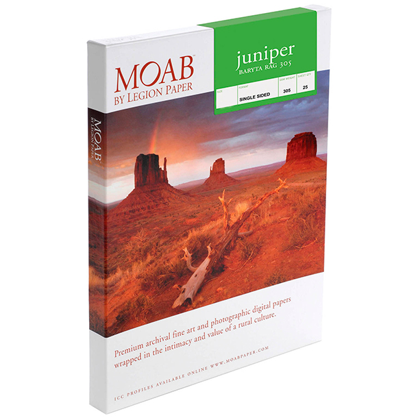 Papel Fine Art Moab Juniper Baryta Rag 305 A3+ (13 x 19) 25 Hojas