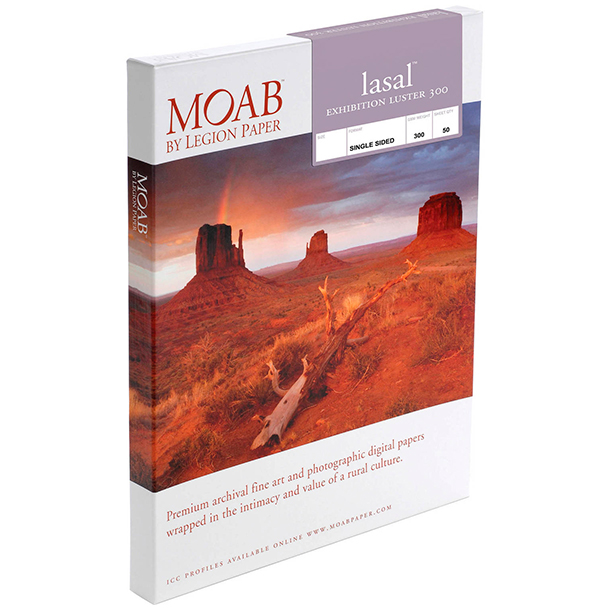 Papel Fine Art Moab Lasal Exhibition Luster 300 A3+ (13 x 19) 50 Hojas