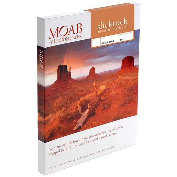 Papel Fine Art Moab Slickrock Metallic Silver 300 Carta (8.5 x 11) 25 Hojas