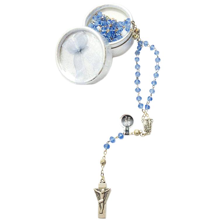 Terço de Cristal azul transparente