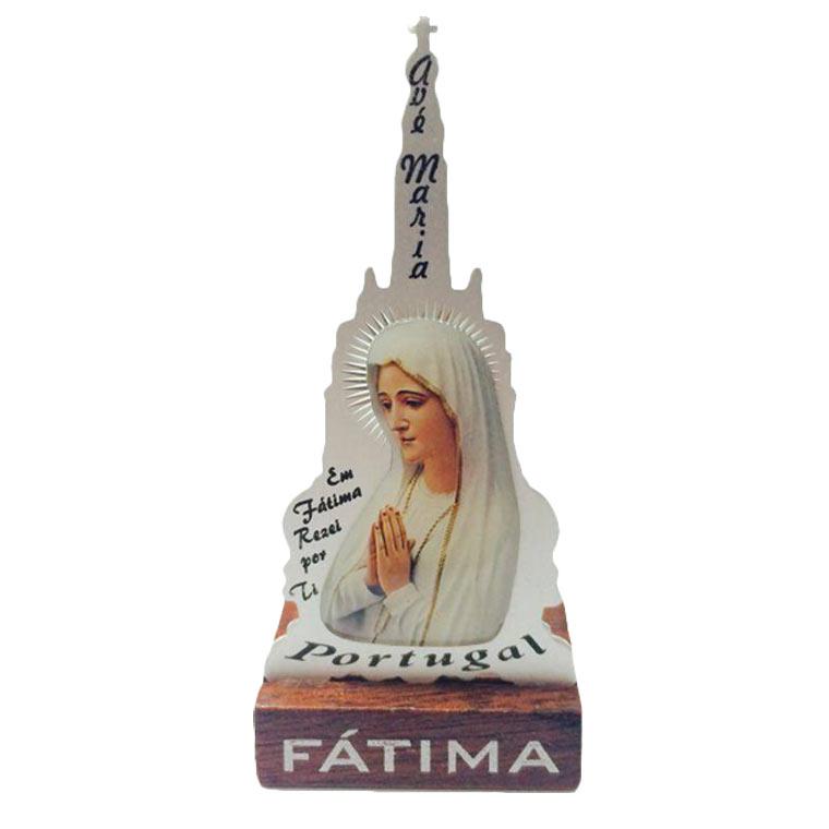 Placa Santuário de Fátima com Nossa Senhora
