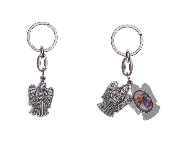 Chaveiro anjo da guarda e São Cristóvão