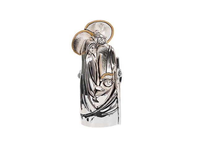 Imagem Sagrada Família estilizada prateada