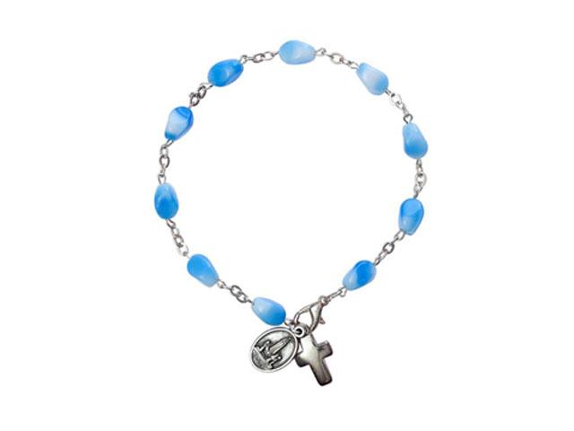 Pulseira de pedras azuis claras