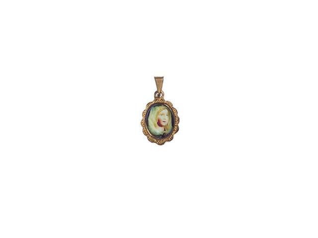 Medalha Redonda Pequena Dourada Fátima Com Véu