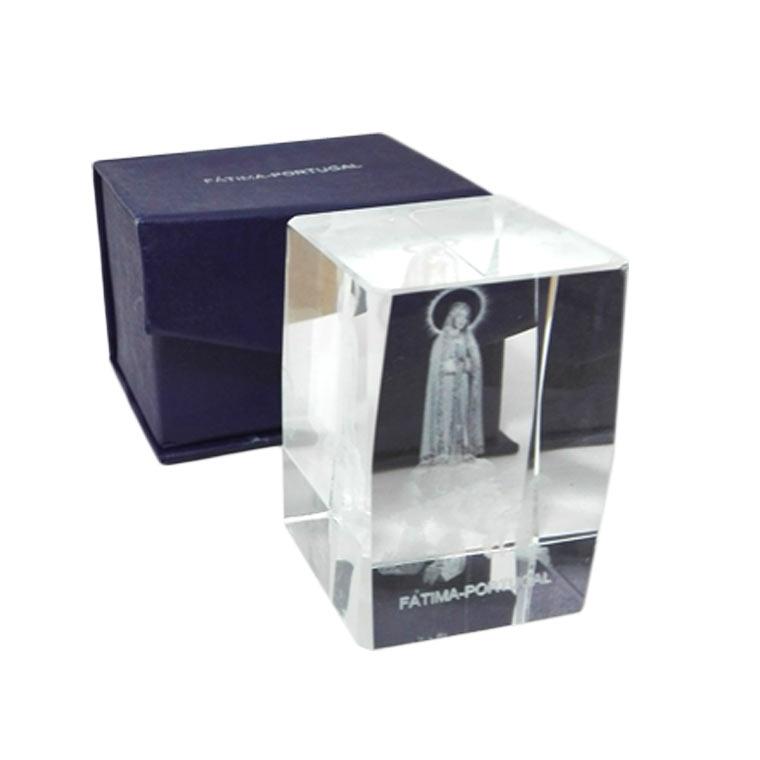 Cristal de vidro com Aparição de Fátima
