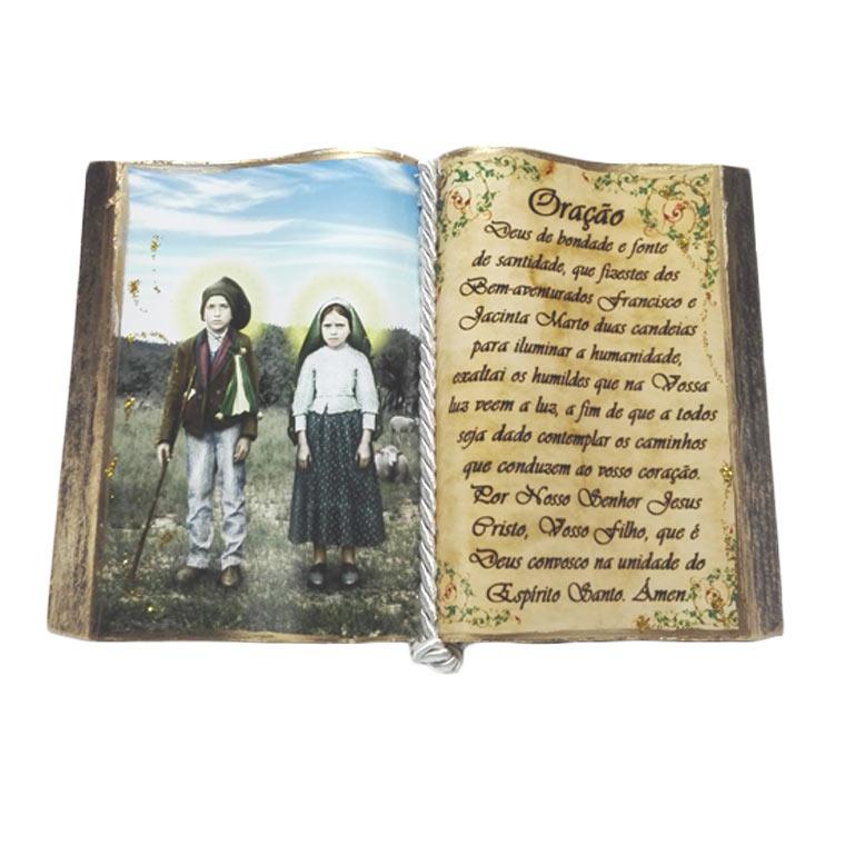 Livro decorativo com Santa Jacinta e São Francisco