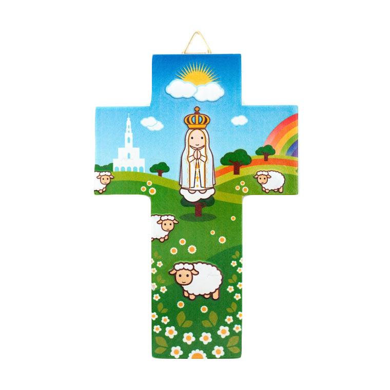 Cruz com 12 imagens católicas diferentes