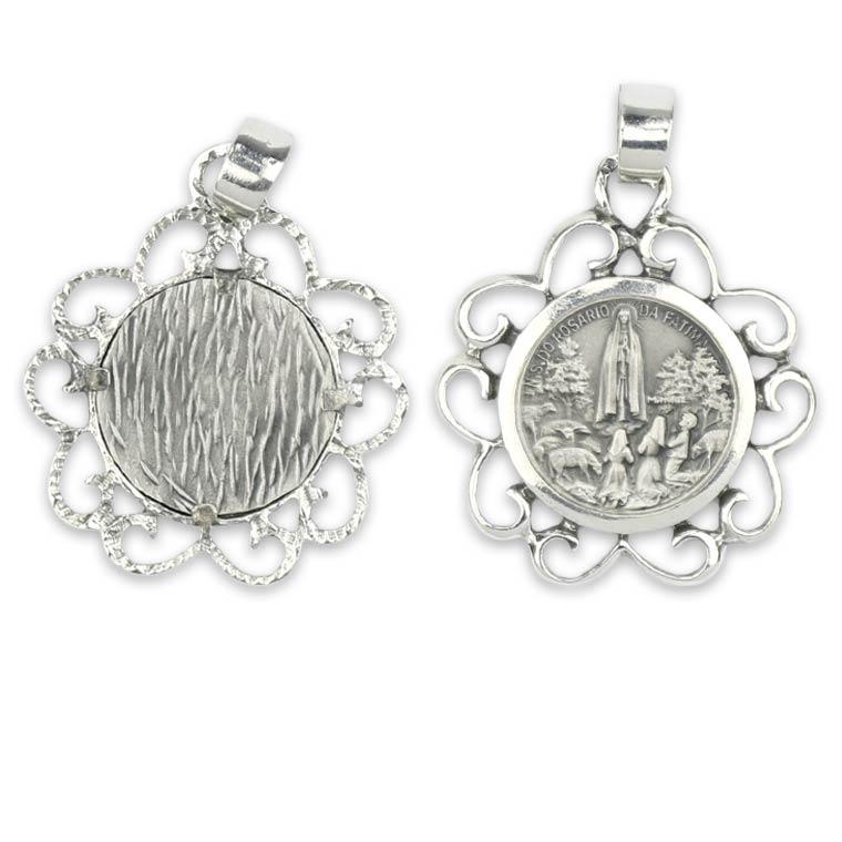 Medalha de Fátima simples - Prata 925