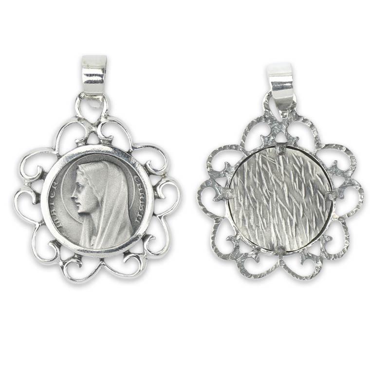 Medalha Nossa Senhora de Fátima simples - Prata 925