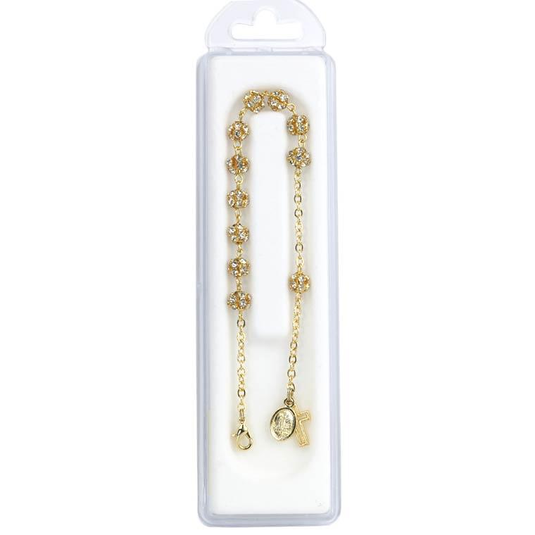 Pulseira dourada com cristal
