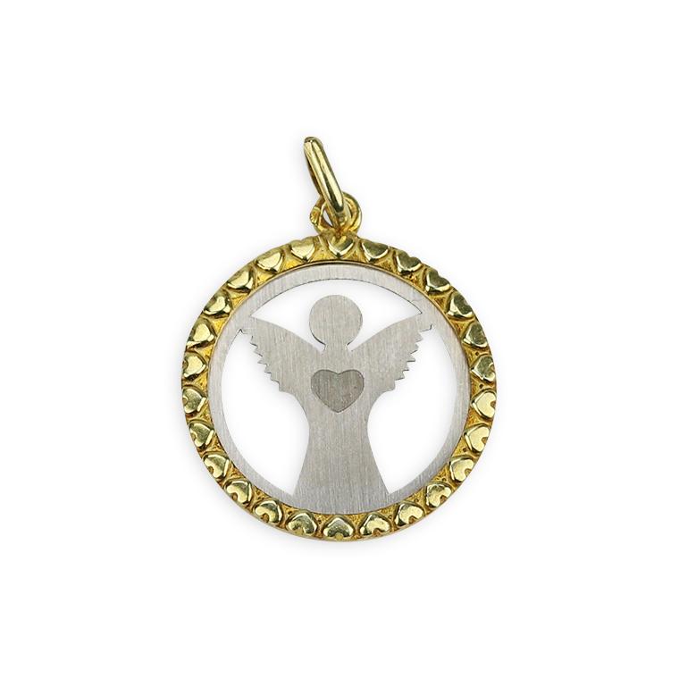 bf877c73ebf8b Medalha de Anjo da Guarda com coração - Prata 925