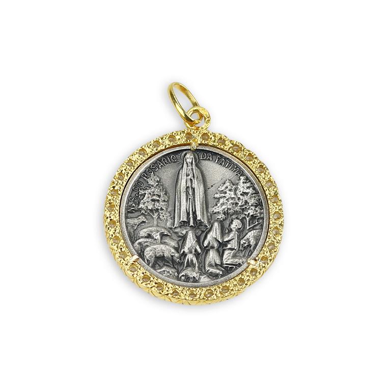 Medalha redonda de Aparição de Fátima - Prata 925