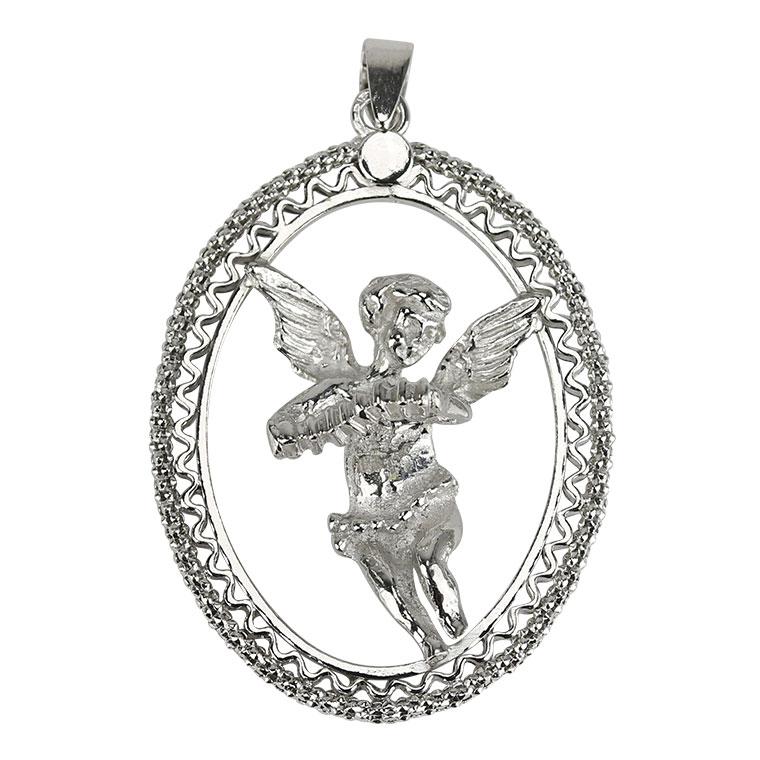 Medalha Anjinho com acordeão - Prata 925