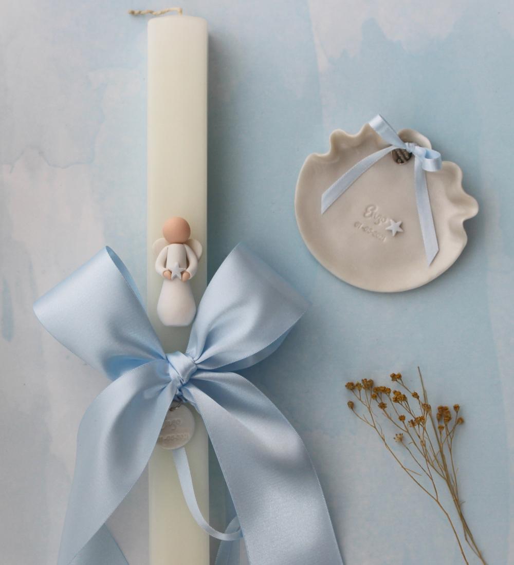 Velas de batismo com anjo estrela guia