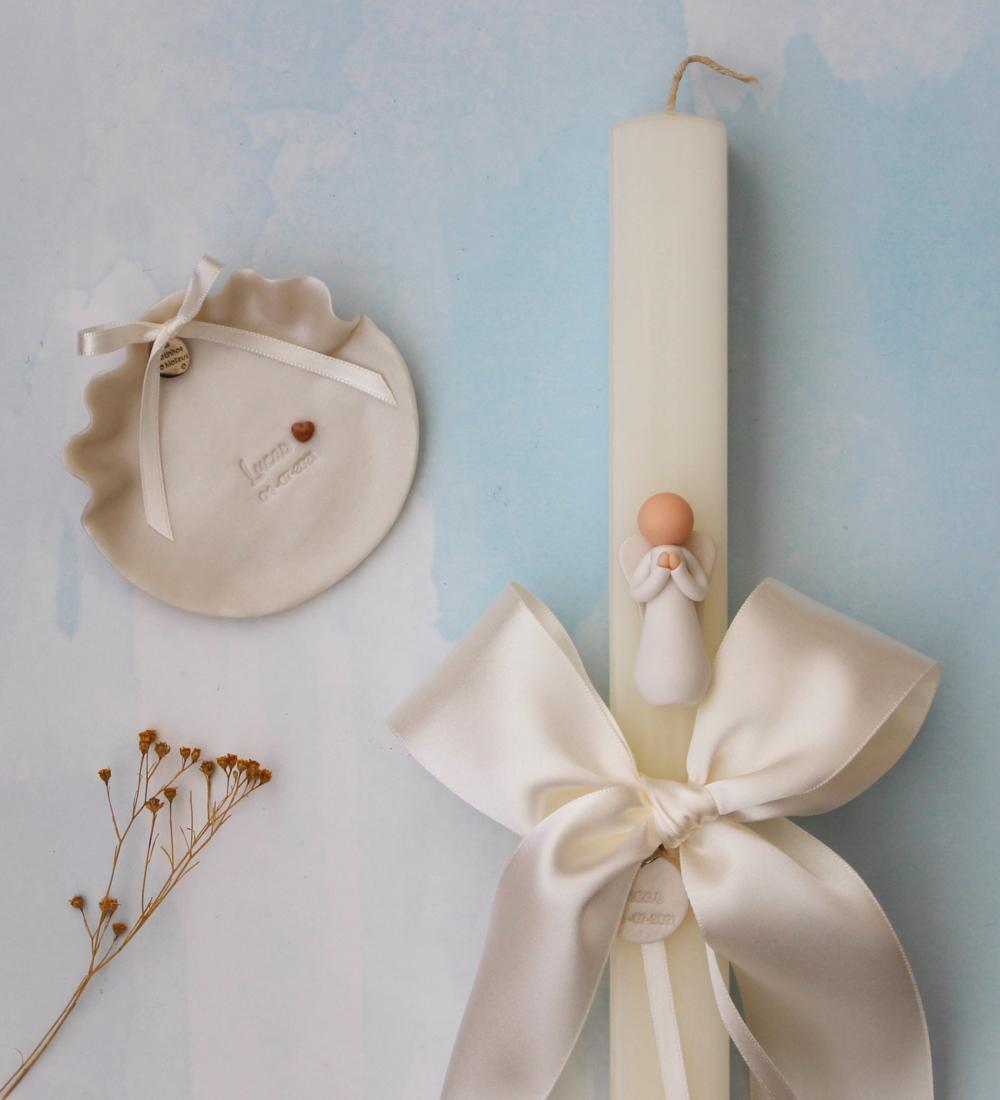 Velas de batismo com anjo da oração