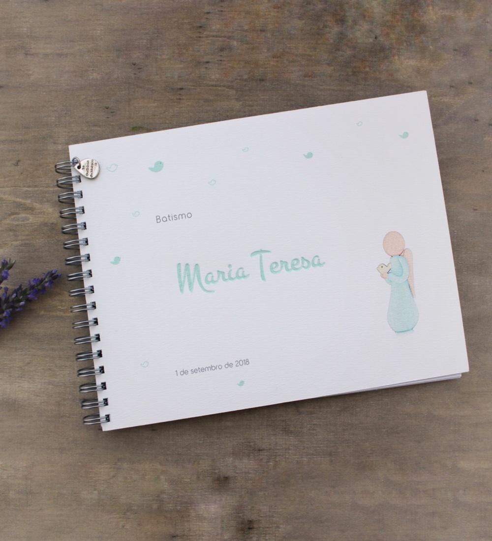 Caderno de mensagens com anjo da liberdade