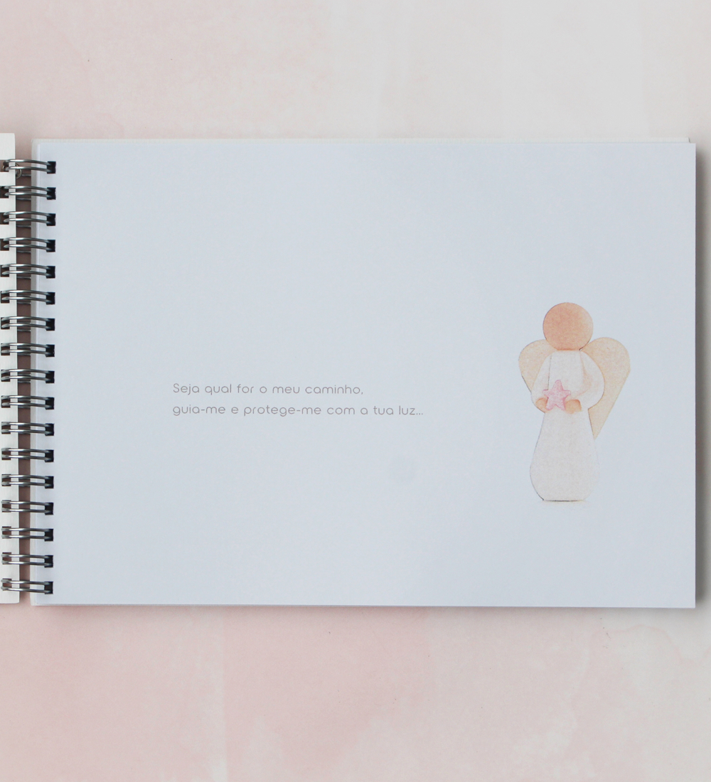 Caderno de mensagens com anjo estrela guia