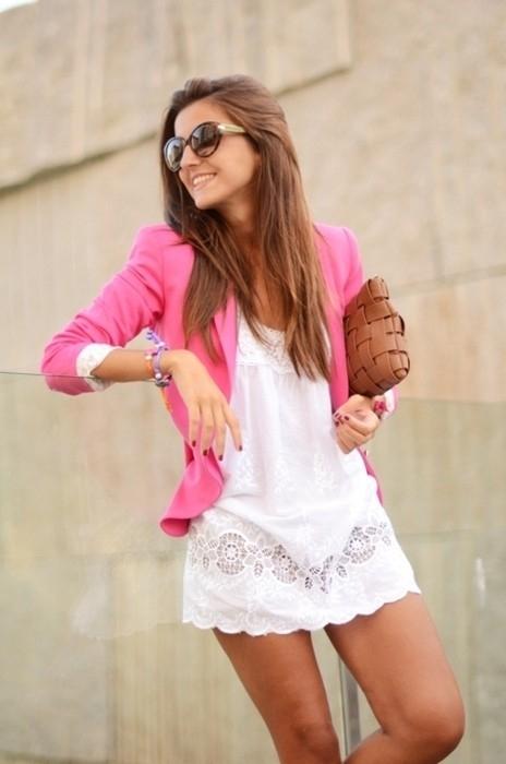 blazer with white Dress
