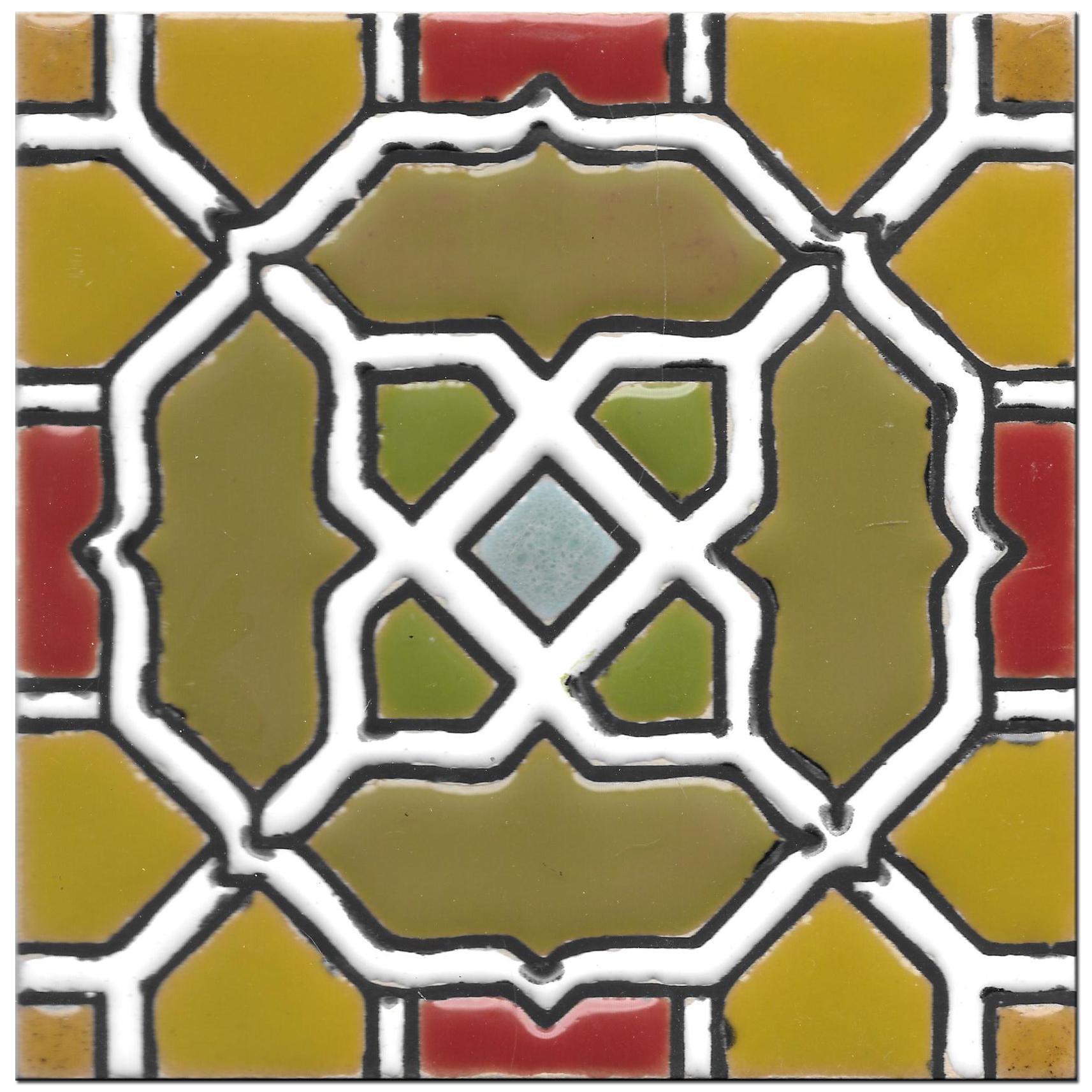 Handmade tile 14x14cm - Spanish Arabic 2 - Color A