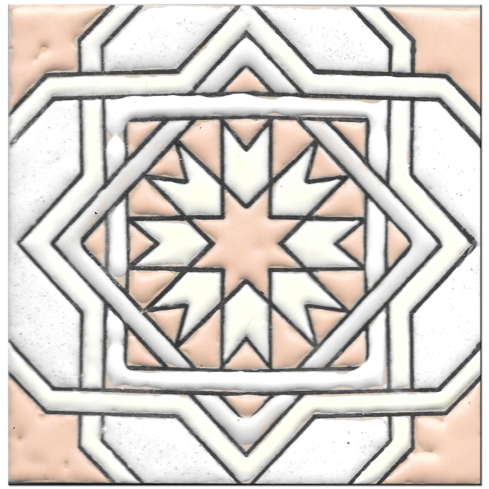 Handmade tile 14x14cm - Hispanic Arabic 3 - Color A