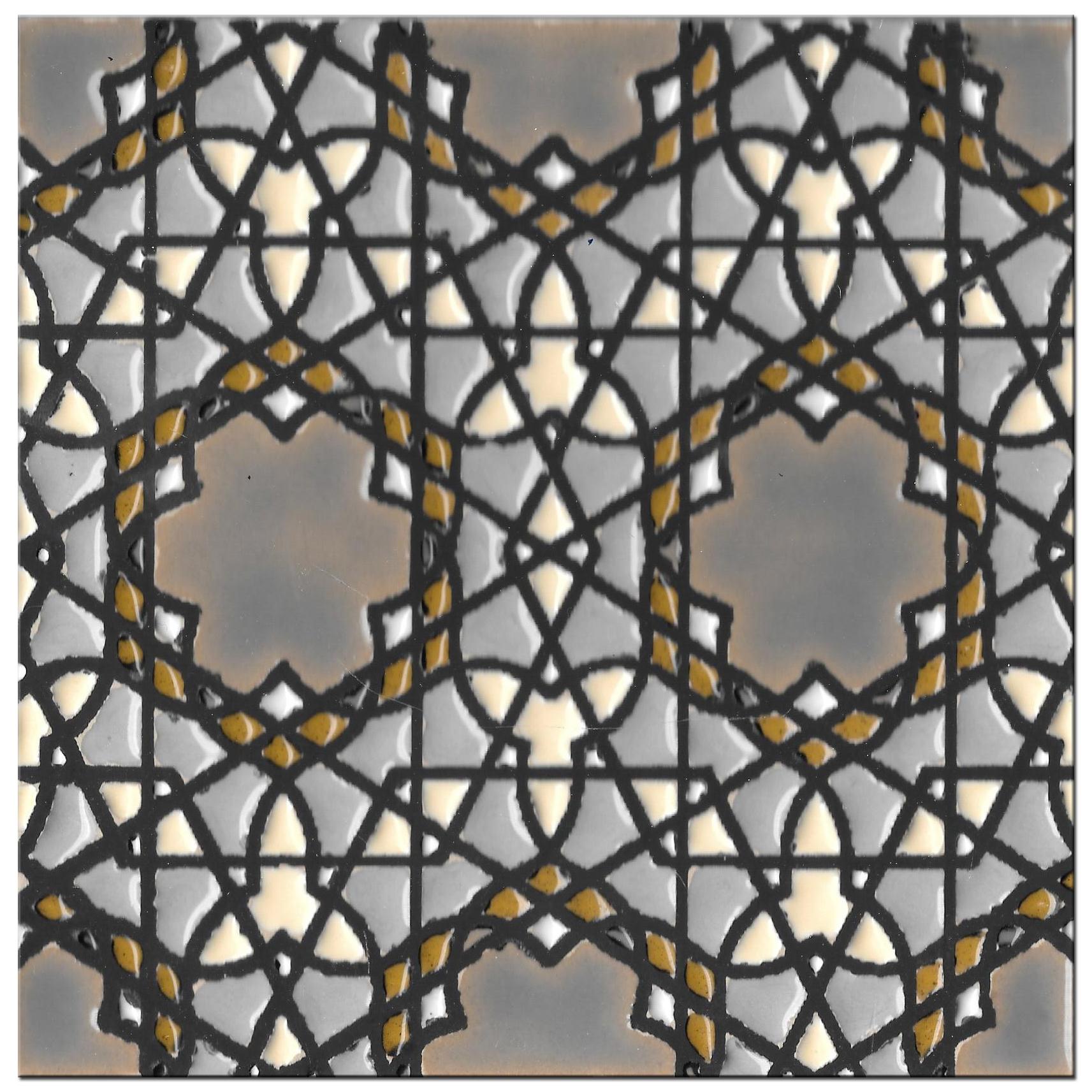Handmade tile 14x14cm - Hispanic Arabic 5- Color B