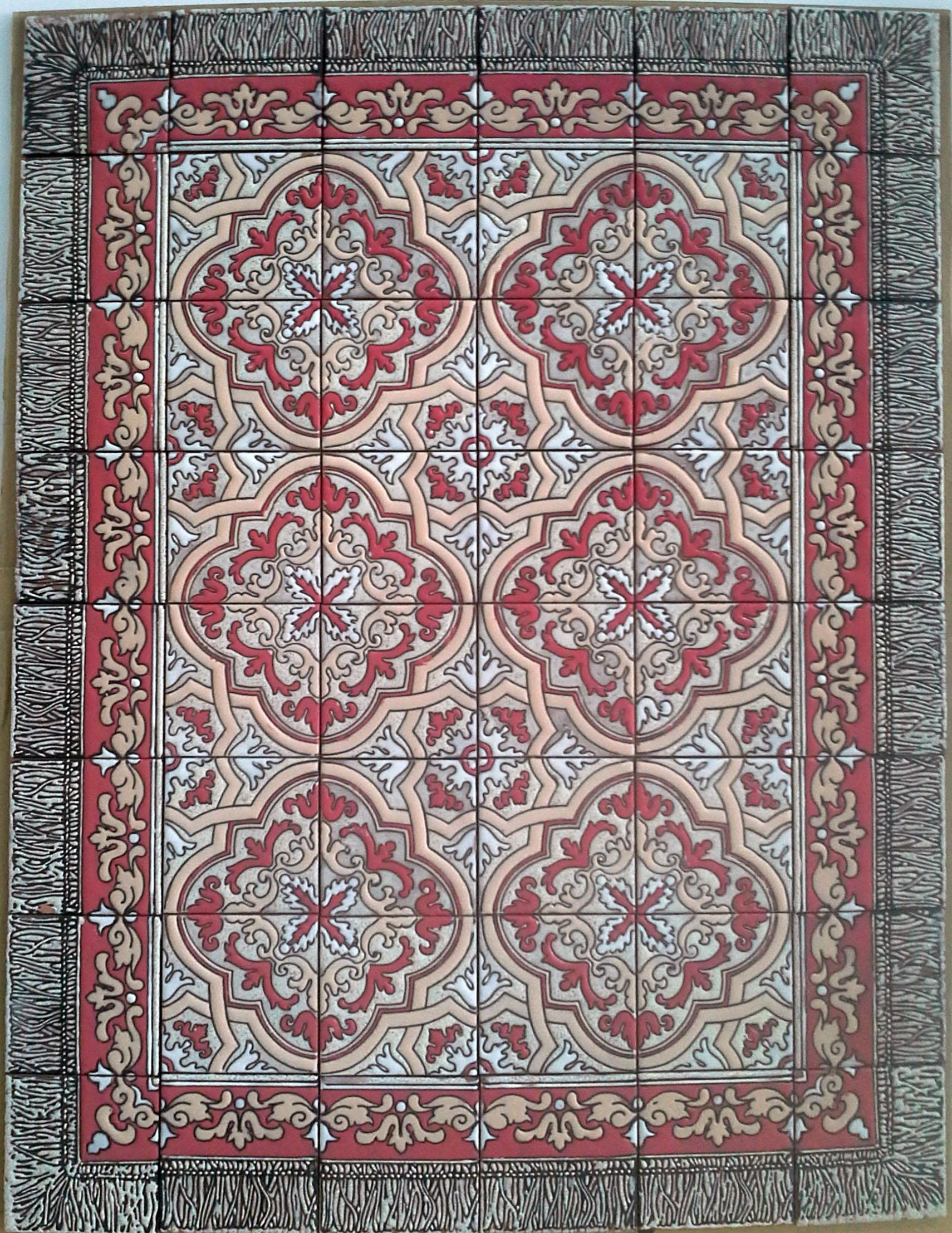 Floor Tile Rug - Sobradinho in Red