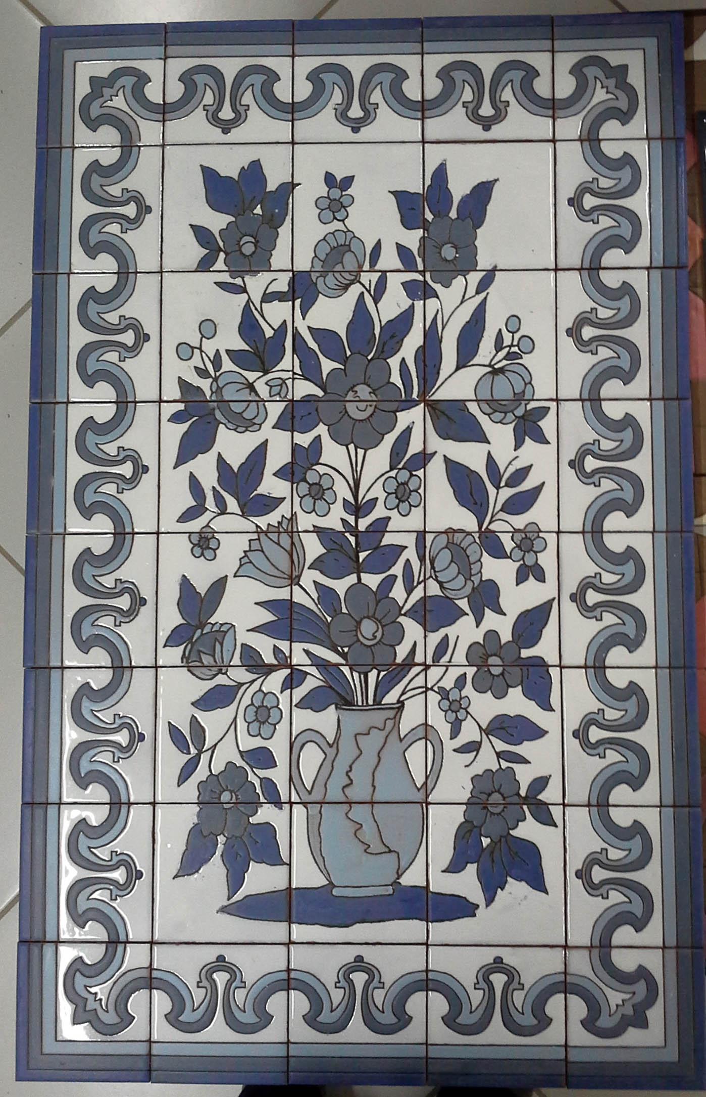 Panneau de mosaïque Vase fleurs 1