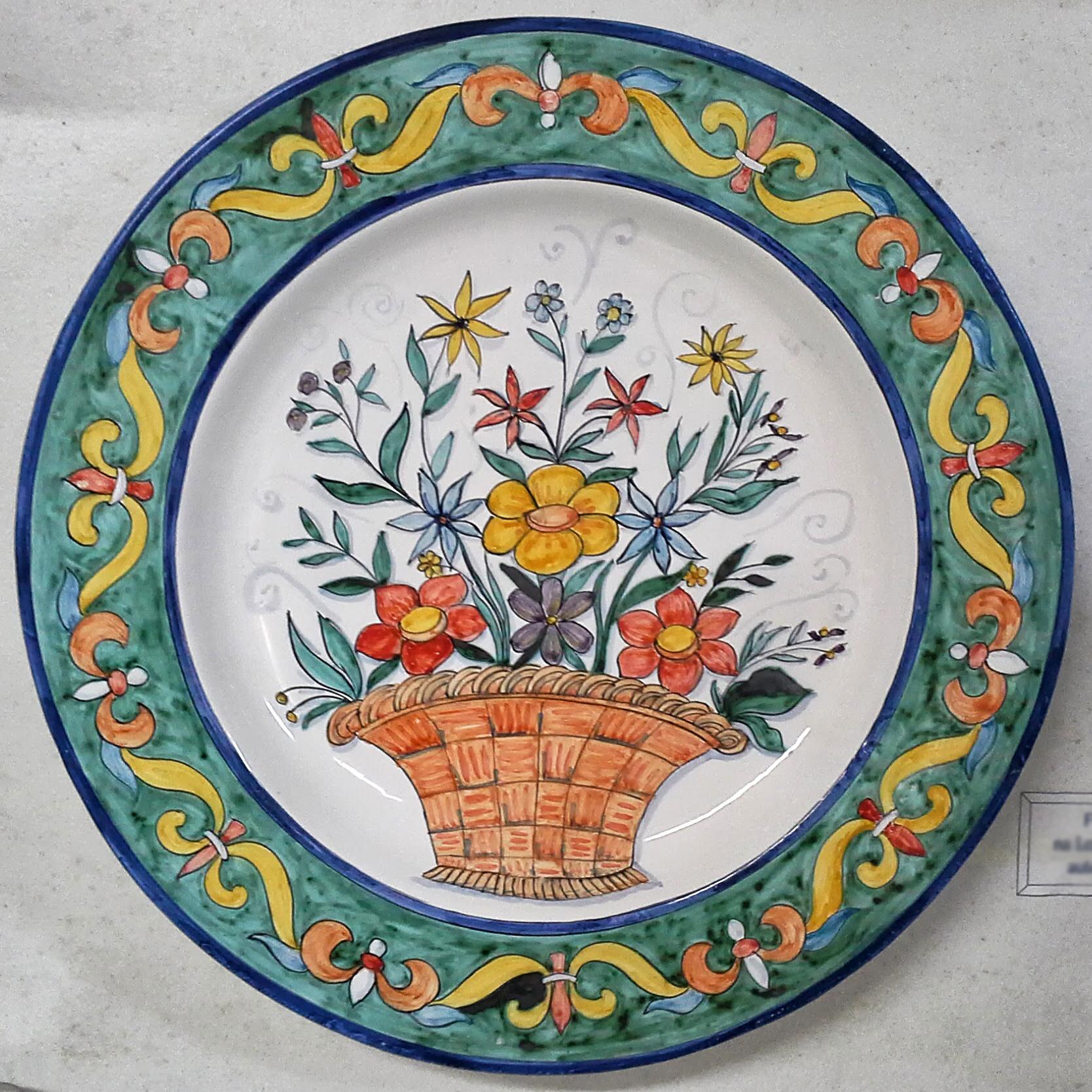 Assiette Murale Panier de Fleurs avec Bordure Verte