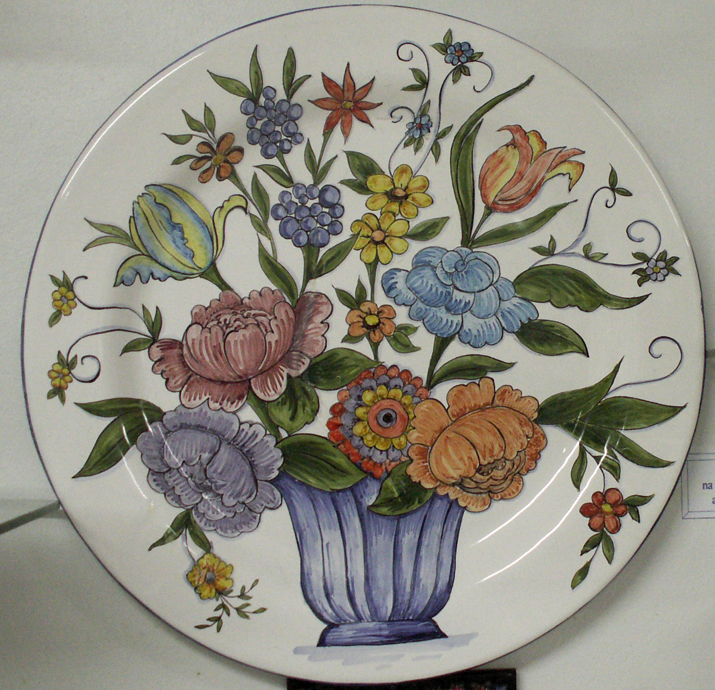 Wall Plate Basket Flowers Color