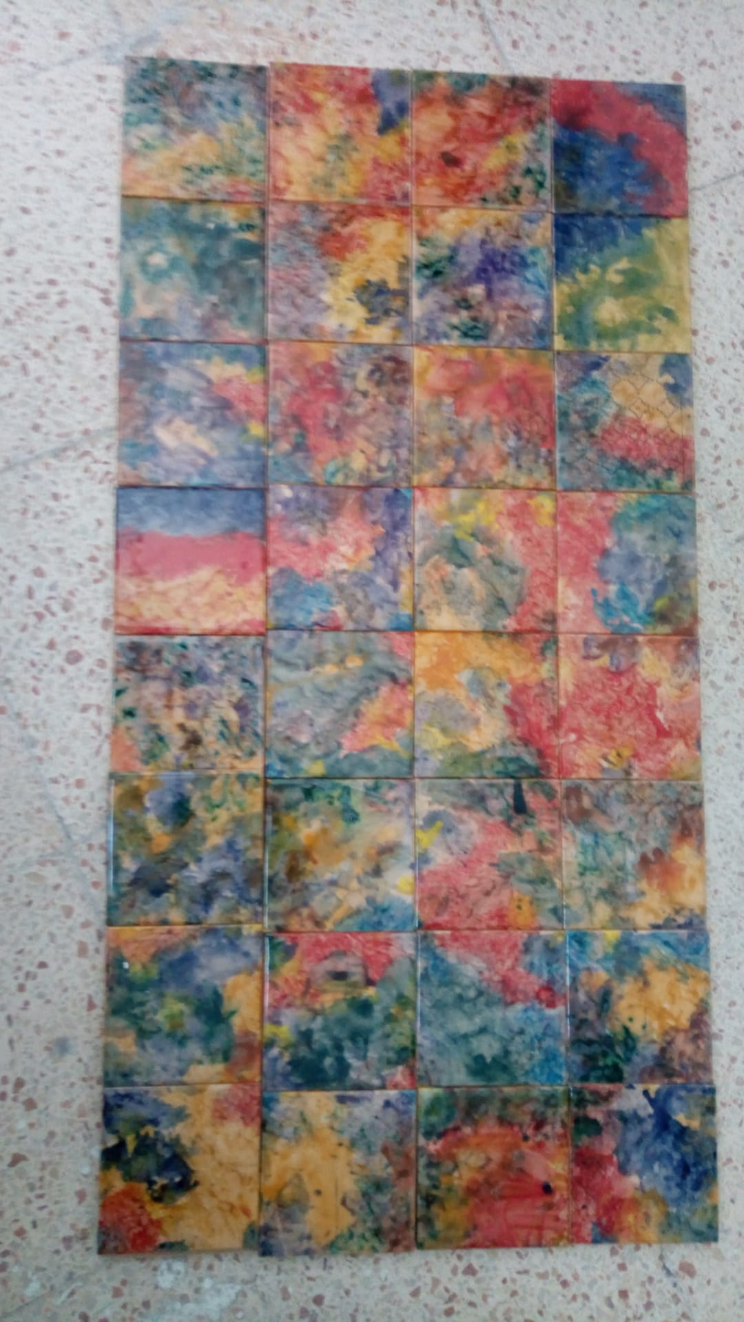 Decorated Tiles - Color Clouds Line
