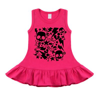vestidos para bebe rock skulls