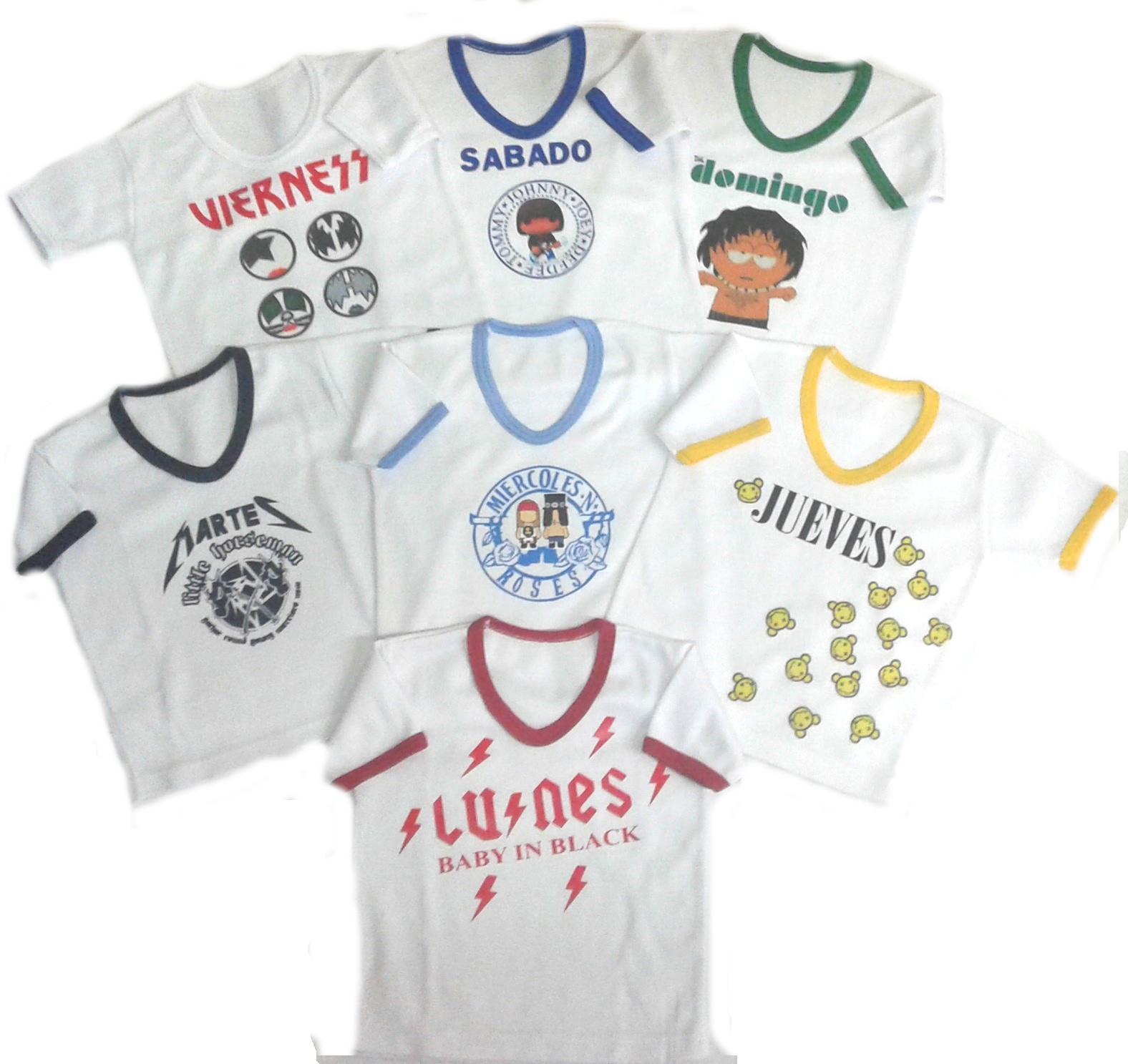 Set semanario para niño y niña rock 7 Camisetas Multicolor
